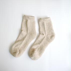 蒸れずに履ける 底パイルふわふわ靴下/ 杢ライトベージュ