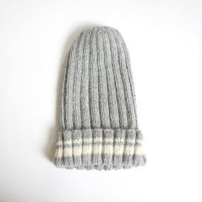 【再入荷!】ライン入りのシンプルなニット帽/ライトグレー ベビーアルパカ100%