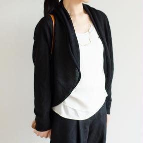 【再入荷!】ストールカラーカーディガン/ブラック ベビーアルパカ100%