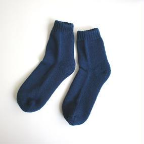 蒸れずに履ける 底パイルふわふわ靴下/ ネイビーブルー