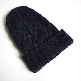 ケーブル編み帽/ネイビー ベビーアルパカ100%
