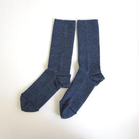 ゴムなししめつけない靴下/ 杢ブルー