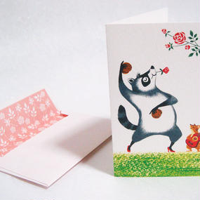 [メッセージカード]アライグマとリスのフラメンコ