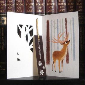 3コマ絵本カード[クリスマスカード]トナカイ:ゴールド