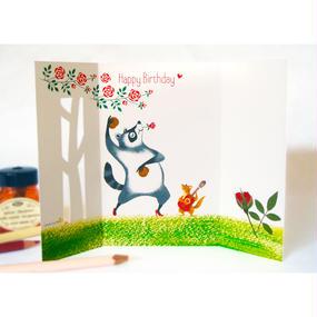 [グリーティングカード]アライグマとリスのフラメンコ