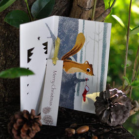 3コマ絵本カード[クリスマスカード:リス]