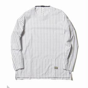 Argane Oil Cotton Stripe Pullover SH/WHITE×NAVY