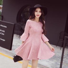 B058 solidpink suede dress ❤