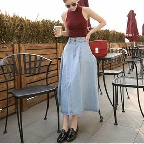 B052 Vintage HighWaist Denim LongSkirt 2color
