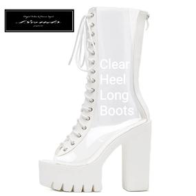 B124 Clear design heel long boots
