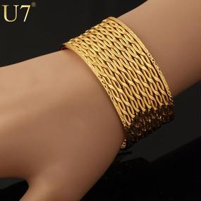 U7 001 gold plating wide mesbraceleth #unisex
