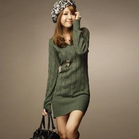 B001 Vネックセーターワンピ #レディース #ファッション #冬のファッション #セーター #ワンピース #ガールズ #冬服