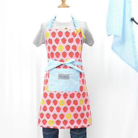 いちごちゃん ピンク エプロン 160cm(三角巾付き)ハンドメイド!