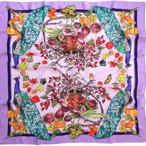 〝Peacock〟正方形 シルクスカーフ 北欧 スウェーデン