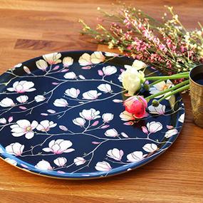 Black Magnolia Round Tray