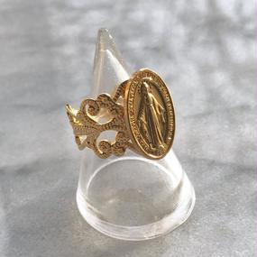 gold maria coin medai ring