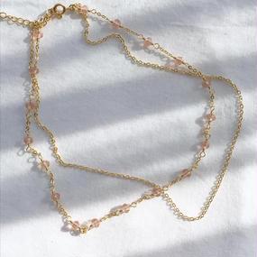 65 rose  pink  stone w chain choker