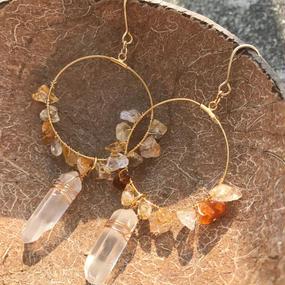 104 citrine crystal hoops