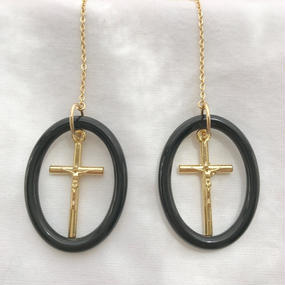 98 black oval cross chain earrings