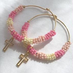53 cherry blossom beads hoops