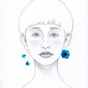 アネモネ ピアス/イヤリング 【blue・アシンメトリー】
