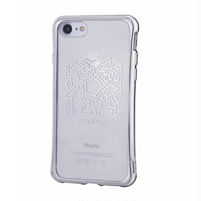 Keith Haring Collection TPU Case for iPhone 7 (Hexagon Figs/Metallic Silver)