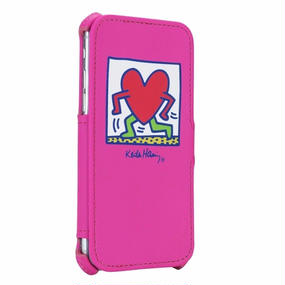 Keith Haring Collection Flip Cover for iPhone 7 (Running Heart/Pink)
