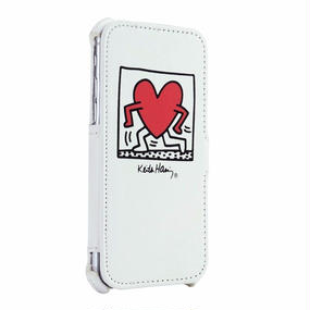 Keith Haring Collection Flip Cover for iPhone 7 (Running Heart/White)