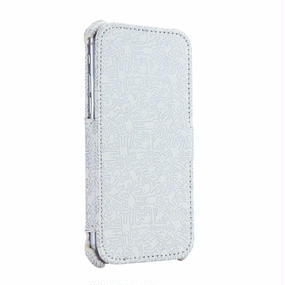 Keith Haring Collection Flip Cover for iPhone 7 (People/Silver × White)