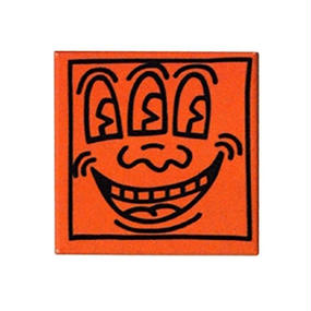 Keith Haring Rectangular Magnet (Three Eyed Face) Orange