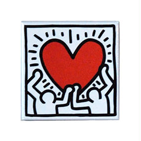 Keith Haring Rectangular Magnet  (Holding Heart)