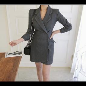 "【2 Colors!! 2色】Asymmetric Hem Jacket Dress ""LADY"" (アシンメトリーヘムジャケットワンピ ""LADY"")"