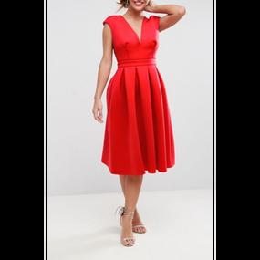 【2 Colors!!2色】V Neck Classy Dress In Popy Red (Vネッククラッシーワンピ)
