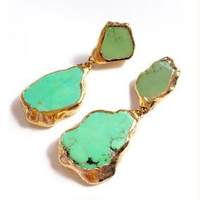 18K Gold Dipped Melon Green Jasper Stone Earrings (18金加工 メロングリーンジャスパーストーンピアス)