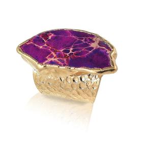 【SALE】¥19,800→¥14,900 18k Gold Dipped Purple Jasper Statement Ring (18金加工 パープルジャスパー・ステートメントリング)