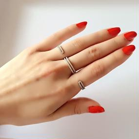 Triple Finger Style In Sterling Silver and  Zirconia Pave Ring (ジルコニアパヴェ付きトリプルフィンガーリング)