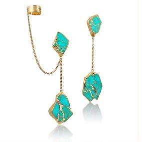 【先行予約販売!!】18K Gold Dipped Light Blue Jasper Stone Earrings (18金加工ジャスパーストーンピアス)