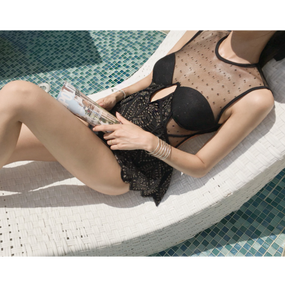 """Beautiful See-thouh Swimwear """"Fabulous"""" (ドットシースルーフェミニンワンピース 水着 """"ファビュラス"""")"""