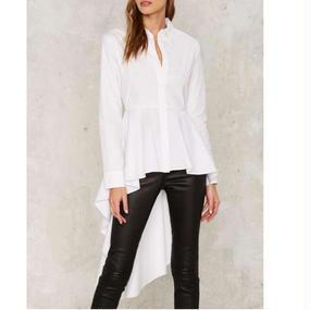 【Back In Stock!! 再入荷】Long Peplum Hem White Shirts (ロンペプラムヘム・ホワイトシャツ)