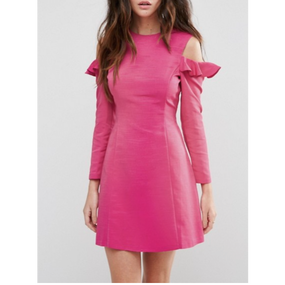 Ruffle  Structured Dress In Pink (ホットピンク ストラクチャーワンピース)