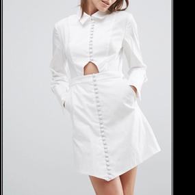 Long Sleeve Design White Shirt Dress (カットアウト ロングスリーブシャツワンピ)  /C/meo (カメオ)