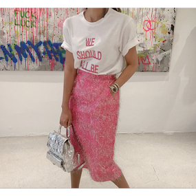 【2Colors!! 2色】Sparkle Tassel H-lined Skirt (キラキラHラインスカート)