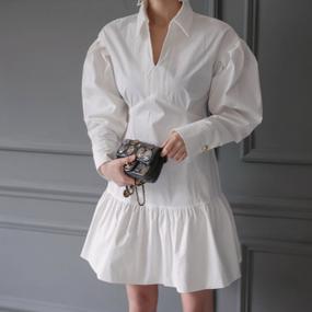 Puff Sleeve Shirt Dress (パフスリーブシャツワンピース)