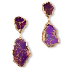 18K Purple Jasper Gem Stone Erring (18金パープル・ステイトメントピアス)