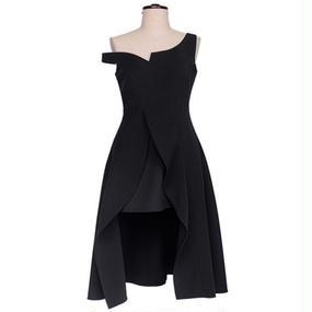 Asymmetrical Classy Off The Shoulder Dress In Black (アシンメトリーオフショルワンピース)
