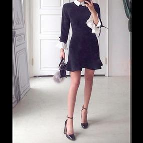 White Collar Little Black Dress (ホワイトカーラーリトルブラックワンピ)