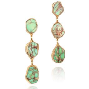 【予約販売!!】18K Gold Dipped Melon Green Jasper Stone Earrings (18金加工 メロングリーンジャスパーストーンピアス)