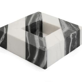 Black& White Marble Plate (モノクロストライプ大理石プレート)