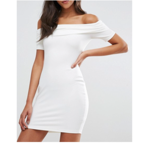 【2Colors!! 】Super Soft Deep Bardot Mini Bodycon Dress (オフショルダーボディコンミニワンピ)