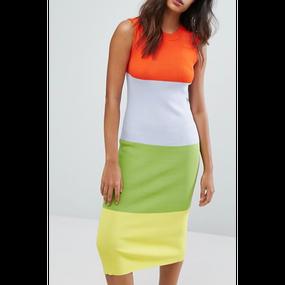 Color Block Midi Dress (カラーブロックワンピ)